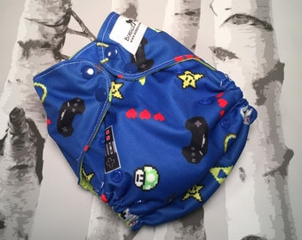 One size cloth diapers, Pocket diaper, OS pocket diaper, OS cloth diaper, Hemp insert, video game diaper