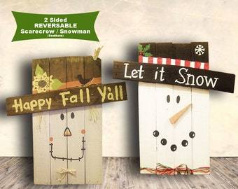 Snowman Scarecrow Sign - 2 Sided Wood Sign - Let it Snow - Happy Fall Y'all - Christmas - Snowman - Scarecrow - Christmas Gift Idea