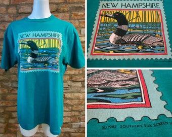 Vintage T-Shirt • 80s T-Shirt • Vintage New Hampshire T Shirt • Teal Blue XL 80s Graphic Tee • Lake Loon Bird 80s Print • 80s Nature T-Shirt