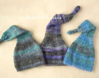 Newborn Long Tail Hat, Mohair Knotted Hat, Newborn Photo Prop
