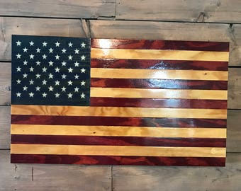Rustic American   American Flag   Military Veteran Made   Wood Flag   Wall  Decor   Part 93
