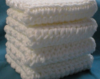 Handmade Cotton Crochet Washcloths or Dishcloths 4-Pk, White (#5620)