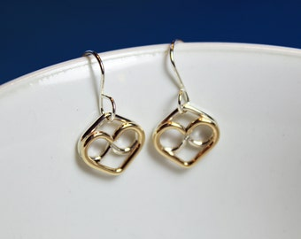 Earrings Two Hearts Joined by God's Infinite Love Sterling Silver & 14K Gold-filled