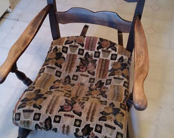 Antique rocking chair Upholstered Finely handcrafted Marked 872