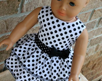 18 Inch Doll Clothes, Sleeveless, Black & White Polka Dot, Party Dress, for Summer