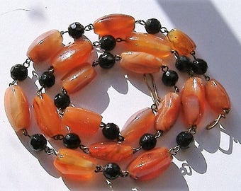 POLISHED CARNELIAN stone vintage necklace