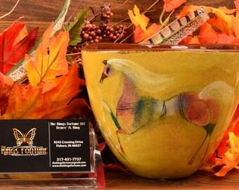 Pillin Pottery Vase,Tri-Con 3 Prancing Horses Yellow Vase