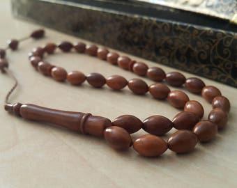 33 Count 6x9mm Kuka Wood Prayer Beads Tasbih Tesbih Rosary FREE SHIPPING