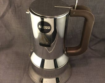 Alessi Espresso coffee maker in 18/10 stainless steel mirror polished. 9090/6