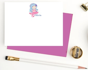Mermaid personalized stationary set for girls, girls personalized stationery, custom stationery for girls, thank you notecards,  MM103