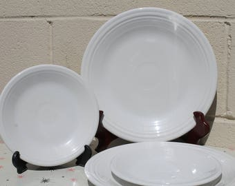 1997 Fiestaware White Dinner Plates and Saucers set of 4