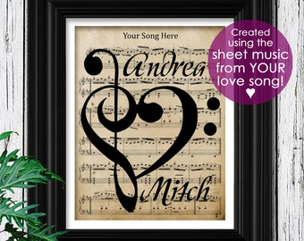 Boyfriend Gift | Custom Sheet Music | Art Print on 100% Cotton Rag Paper | Engagement Gift | Gift for Boyfriend | Wall Art | Mens | Weddings