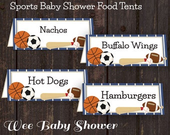 Sports Themed Baby Shower Blank Food Tent Cards
