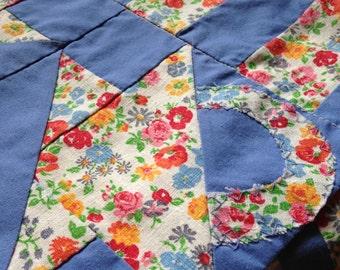 Flour Sack Cloth Quilt Blocks Basket Quilt Pattern Blue Floral Design