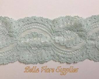 Mint Stretch Lace Trim- Pastel Mint Stretch Lace- Wide Stretch Lace- Wholesale Lace- DIY Headband