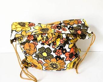 70s Backpack - Mod floral backpack - Drawstring backpack - Textile fabric backpack -Fabric drawstring bag - Hippie rucksack -Floral rucksack