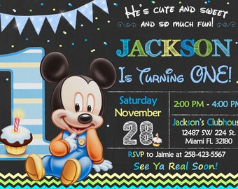 Baby Mickey Mouse First Birthday Invitation Baby Mickey Mouse First Party