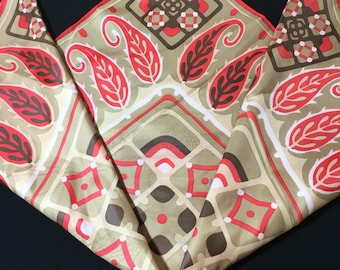 1960's Ben Goodman Patterned Square Scarf, Water Repellant