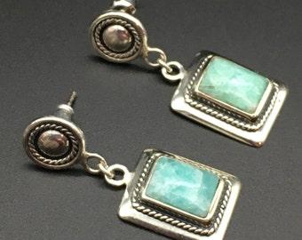Vintage Larimar & Sterling Silver Dangle Earrings - Ships Free