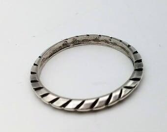 Vintage Antiqued Knife-Edge Sterling Silver Band or Stacking Ring, Signed - Size 9