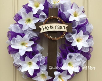 Easter Cross Wreath, Easter Wreath, Lily Easter Wreath, Purple and White Easter Wreath, He is Risen Wreath