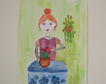Girl & Plants Watercolour Painting.