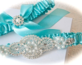 Aqua wedding garter set,  Wedding garters,  Aqua bridal garter set,  Aqua garters