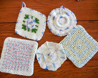 Five Vintage Hand-Crocheted Potholders and Hot Pads In Mixed Pastel Colors--Lot #8