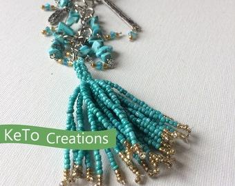 Turquoise Dangler,  Purse Charm, Charm Key Chain, Charmed Zipper Pull, Key Fob, Purse Accessory, Under 15