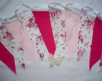 """3 Metres Gorgeous Cerise & Baby Pink - Wedding / Celebration Fabric Bunting """"Gemma"""""""