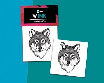 Set of 2 temporary tattoos - wolf