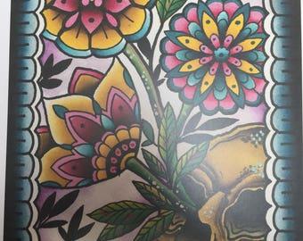 Skull Folk Art Print