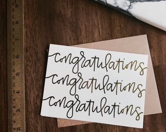 Congratulations Card (gold foil) 4 pack