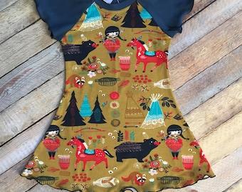 """Organic Cotton """"Village Feast"""" Flutter Dress"""