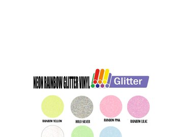 "12"" x 20"" Neon  Rainbow Glitter Vinyl - 7 Colors"