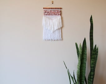 Woven Wall Hanging // Pink // Red // White