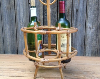 Bottle-carrier in bamboo, portable bar, mini bar rattan, folding handle, carrier for 4 bottles, the 70s