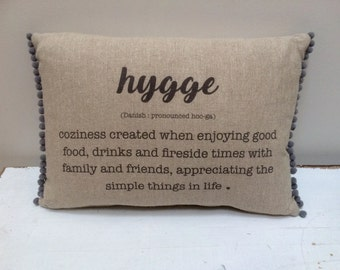 Hygge cushion printed linen. Choose your colour pompoms
