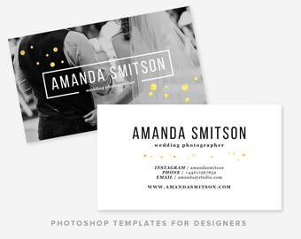 Photographer Business Card Template | Wedding Photographer | Gold Business Card Design | Digital Photoshop Template | INSTANT DOWNLOAD