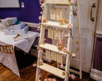 Vintage Painted Step Ladder Table Plan, Wedding, Table Plan, Wedding decor, Wedding Plan