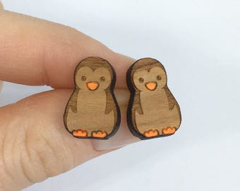 Wooden penguin earrings