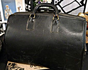 SALE 1930s Large Antique Black Leather Doctor's Bag