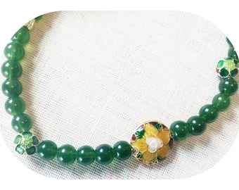 Green with Yellow Flowers Necklace and Earrings