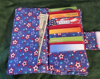Credit Card Organizer Wallet, Gift Card Holder, Womans Wallet, Hand Made, Ready to ship. Ready for the 4th of July