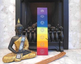 Colorful chakra wooden plaque - chakra painting - spiritual art - mediation art - yoga art - chakra symbols plaque - meditation gift