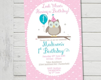 Cute Owl Invitation 1st Birthday Party Pink Frilly Invite Girls Owls Whoo's Turning 2nd 3rd 4th (Evite) Digital File Provided