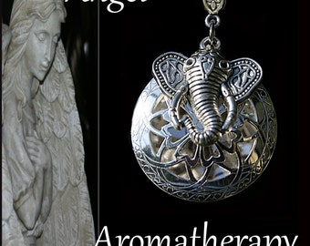 Essential Oil Diffuser Silver Elephant Necklace Young Living Doterra Aromatherapy