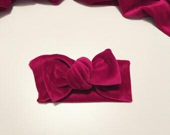 Burgendy Velvet Hair Bow