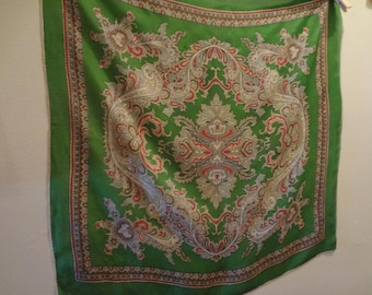 Scarf Silk Mid-Century Green Paisley with Off White, Red, Soft Gray and Brown