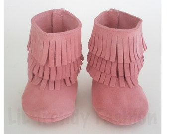 Pink Baby Moccasins Boots Genuine Suede Soft Leather Boots Baby Moccasins Suede Fringe Moccs Pink Suede Fringe Boots Genuine Leather Suede